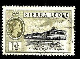 SIERRA LEONE 182° 1p Olive Elisabeth II Quai Elisabeth II (10% De La Cote + 0,15) - Sierra Leone (...-1960)