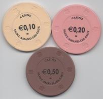 Casino Saint Amand Les Eaux : Lot De 3 Jetons De Petits Valeurs - Casino