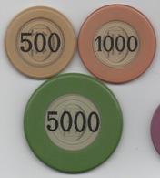 Lot De 3 Jetons De Casino à Préciser TT ? : 500 - 1000 - 5000 - Casino