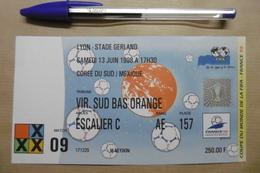 Football Ticket D'entrée 1998 COUPE DU MONDE DE LA FIFA à LYON Stade Gerland : CORÉE DU SUD / MEXIQUE - Tickets - Entradas