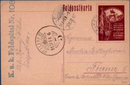 Austria Hungary, 1917 Feld-postcard Hospital 108, Office 144 To Fiume Invaliden, Witwen Und Wesenfond - 1850-1918 Empire