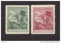Czechoslovakia 1938 MNH ** Mi 389-390 Sc B150-B151 For Childern - T.G.Masaryk. Tschechoslowakei. - Tschechoslowakei/CSSR