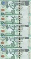 LIBYA 10 DINARS 2004 P-70a SIG/ 9 MUNEISI LOT X5 UNC NOTES */* - Libië