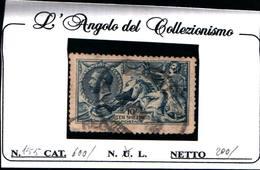 "6255B) GB 1913 N. 155- Allegorie ""Cavalli Marini"" 10s Azzurro -USATO - Usati"