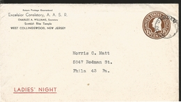 J) 1945 UNITED STATES, POSTAL STATIONARY, CIRCULATED COVER, FROM NEW JERSEY TO PHILADELPHIA - Vereinigte Staaten