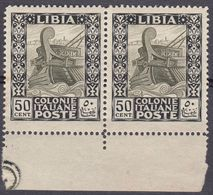 LIBIA (COLONIA ITALIANA) - Coppia Di Yvert 51 Nuovi MH Uniti Fra Loro E Con Margine Di Foglio, Come Da Immagine. - Libya