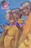 116863 ASIA TIBET COSTUMES YELLOW LAMAS WITH PRAYER WHEELS BREAK CIRCULATED TO CHILE POSTAL POSTCARD - Tíbet