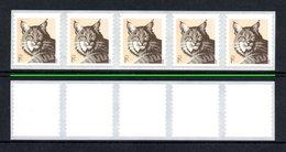 UNITED STATES 2012 Definitive/Wildlife/Bobcat 1c: Strip Of 5 Stamps UM/MNH - Coils & Coil Singles