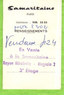 Samaritaine  Paris  - Carte De Renseignements Ouvrante. - Cartoncini Da Visita