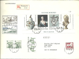 Sweden 1979 Registered Letter Sent From Bromma 15, With Bloc Swedish Rokokko Mm, Cancelled 22.10.79 - Brieven En Documenten