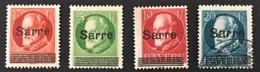1920 Briefmarken Von Bayern Mit Aufdruck Sarre  Mi. 18*), 19*) 20(*), 21 Aufdruckfehler A Auf 19, B1 Auf 21 - Neufs