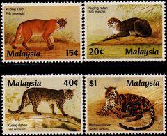 Malaysia 1987 S#368-371 Protected Animals MNH Fauna Wildcat Big Cat Leopard - Malaysia (1964-...)