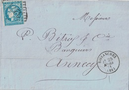 SAVOIE - SALLANCHES - CERES DE BORDEAUX - N°45 OBLITERATION GC3274 - LETTRE ENTETE JM PISSARD BANQUIER - LE 25-3-1871 - Marcophilie (Lettres)