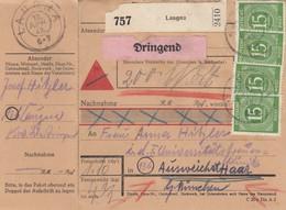 BiZone Paketkarte 1948: Laugna Nach Haar, Dringend, Nachnahme, Wertkarte - Zone AAS