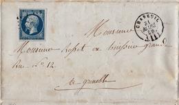 Lettre 1858 Montélier Chabeuil Drôme Grenoble Isère Timbre Napoléon III - 1853-1860 Napoléon III