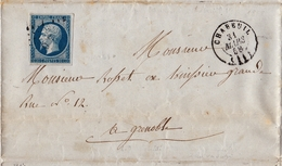 Lettre 1858 Montélier Chabeuil Drôme Grenoble Isère Timbre Napoléon III - 1853-1860 Napoleon III