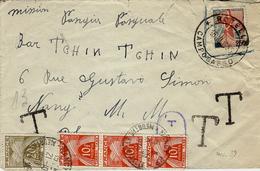 1955- Enveloppe De Rotello ( Italie Affr. Avec T P Français  TAXEE à 50 F. - Storia Postale