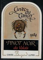 """Etiquette De Vin // Pinot Noir Du Valais, Signe Du Zodiac """"Le Cancer"""" - Sin Clasificación"""