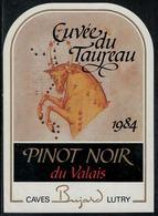 """Etiquette De Vin // Pinot Noir Du Valais, Signe Du Zodiac """"Le Taureau"""" - Sin Clasificación"""
