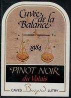 """Etiquette De Vin // Pinot Noir Du Valais, Signe Du Zodiac """"La Balance"""" - Sin Clasificación"""