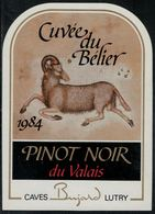 """Etiquette De Vin // Pinot Noir Du Valais, Signe Du Zodiac """"Le Bélier"""" - Sin Clasificación"""