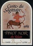"""Etiquette De Vin // Pinot Noir Du Valais, Signe Du Zodiac """"Le Sagittaire"""" - Sin Clasificación"""
