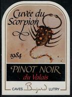 """Etiquette De Vin // Pinot Noir Du Valais, Signe Du Zodiac """"Le Scorpion"""" - Sin Clasificación"""