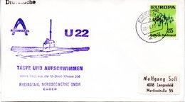 """(UB) BRD Umschlag Mit Cachet-Zudruck """"Unterseeboot """"U22-S171""""- TAUFE UND AUFSCHWIMMEN"""" EF BRD TSt 27.3.1973 ECKERNFÖRDE - U-Boote"""