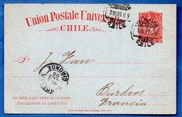 Chili- Entier Postal  - De Valparaiso  -  Pour Bordeaux  -  3/8/1899 - Chili