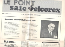 """Journal """" Le Point """" édité Par La Société SAIC VELCOREX De ILLZACH ( 68 ) En 1979 Pour Son Personnel (jm) - Journaux - Quotidiens"""