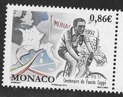 MONACO, 2019, MNH,CYCLING, BICYCLES, FAUSTO COPI,1v - Ciclismo