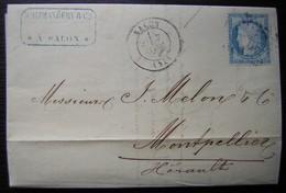 Salon 1875 D. Alphandéry Lettre Pour Montpellier - Postmark Collection (Covers)