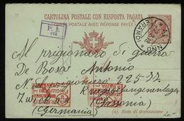S6847 - Italien Kriegsgefangenen GS Frage Postkarte Mit Zensur:gebraucht Teramo - Zwickau  1918 , Bedarfserhaltung. - 1900-44 Vittorio Emanuele III