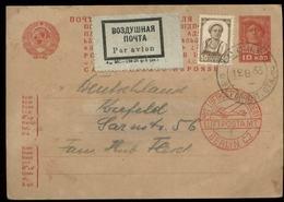 S7340 - Russland GS Luftpost Postkarte + Marke: Gebraucht Moskau - Berlin - Krefeld 1933, Bedarfserhaltung. - 1923-1991 UdSSR