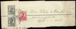 S7344 - Rumänien, GS Streifband + Marke: Gebraucht Bukarest - Halle Saale 1909, Bedarfserhaltung. - 1918-1948 Ferdinand, Charles II & Michael