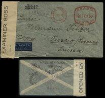 S4903 Brasilien Freistempel Luftpost Briefumschlag Mit Zensur: Gebraucht Sao Paulo über New York- Verscio Schweiz 1942 - Brasilien