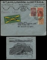 S6345 - Brasilien Luftpost Condor Briefumschlag Mit Firmenbild: Gebraucht Rio De Janeiro - San Salvador Da Bahia 1932 - Luftpost