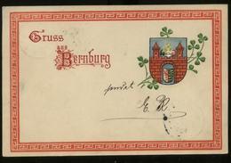 S2620 DR Wappen Präge Postkarte ,AK Gruss Aus Bernburg:gebraucht Bernburg - Greiz 1899, Bedarfserhaltung. - Allemagne