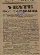 Timbre AFFICHES Sur Document -1913- Affiche De Vente Sur Licitation - 5 C.& 2/10  Violet -dim 35 X 26 Cms  (lot 3 ) - Fiscaux