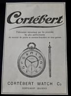 CORTEBERT MONTRE HORLOGEIRE SUISSE FABRICATION MECANIQUE MONTRES DE POCHES MONTRE BRACELET PUB 1926 SWITZERLAND WATCH AD - Advertising