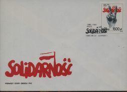 POLAND FDC 1990 10TH ANNIVERSARY SOLIDARNOSC SOLIDARITY TRADE UNION VICTORY SIGN HAND ANNIV - Solidarnosc-Vignetten