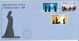 Grenadines Of St. Vincent FDC 3-12-1984 Christmas Stamps Complete Set Of 3 With Cachet - St.Vincent & Grenadines