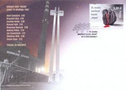 POLAND FDC 2006 SOLIDARITY SOLIDARNOSC 25TH ANNIV END OF MINERS KWK WUJEK MINE STRIKE LUMP COAL BLEEDING 9 MINERS KILLED - FDC