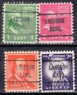 USA Precancel Vorausentwertung Preo, Locals Kansas, Langdon 721, 4 Diff. - Vereinigte Staaten