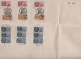 Timbres Fiscaux Et De Dimension -1945-3 Feuilles De Papiers Timbrés ( 2, 10, 20 X2 Et 8 Frs) Format  25 X 17.5 Cms-pliés - Fiscaux