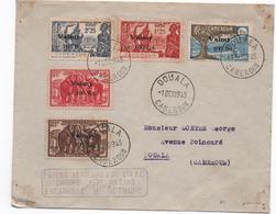 CAMEROUN- 1 12 1943 - Env Timbrée Sans/corresp -série Valmy 5 Timbres -= Cachet Forces Aérienne AFC  - RARE- - Kamerun (1915-1959)