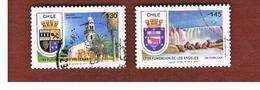 CILE (CHILE)  - SG 1199.1201 -    1989 TOWN ANNIVERSARIES: 2 STAMPS OF THE SET  -     USED ° - Cile