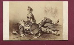 010819 PHOTO CDV - Militaria Guerre Le Petit Tambour Chien Hurlant Armand Dumaresq - Guerre, Militaire