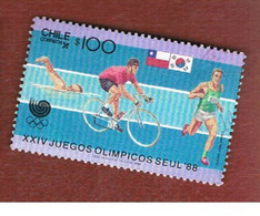 CILE (CHILE)  - SG 1147.1148-    1988 OLYMPIC GAMES (COMPLET SET O 2)  -     USED ° - Cile