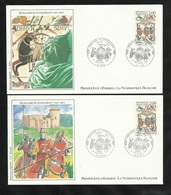 FDC  2 Lettres Illustrées Premier Jour  Caen Et Rouen 5/09/1987 N°2492 Guillaume Le Conquérant TB Soldé Moins De  20 % ! - FDC